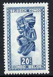 Belgian Congo 1947 Masks & Carvings 20c blue unmounted mint SG 275*, stamps on masks      artefacts
