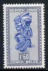 Belgian Congo 1947 Masks & Carvings 1f60 blue & grey unmounted mint SG 282b*, stamps on masks      artefacts