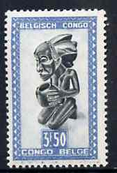 Belgian Congo 1947 Masks & Carvings 3f50 green & blue unmounted mint SG 285*, stamps on masks      artefacts