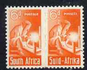 South Africa 1942-44 KG6 War Effort (reduced size) 6d Electric Welding pair unmounted mint, SG 102