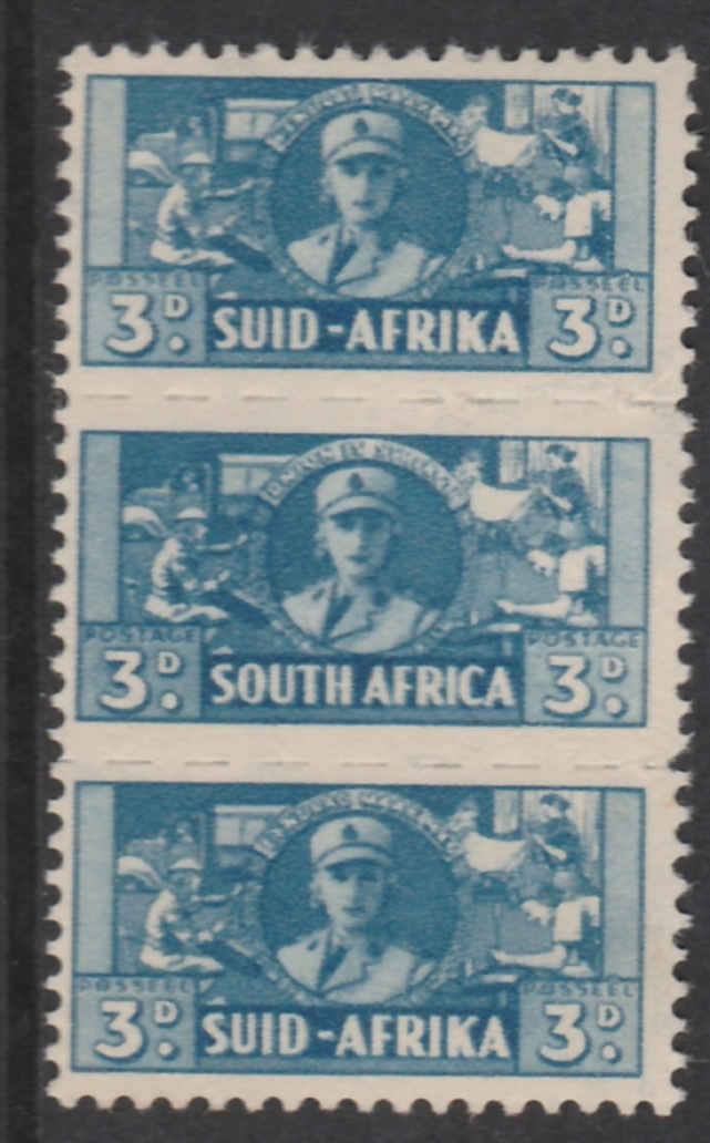 South Africa 1942-44 KG6 War Effort (reduced size) 3d Women's Auxiliary Service triplet unmounted mint, SG 101
