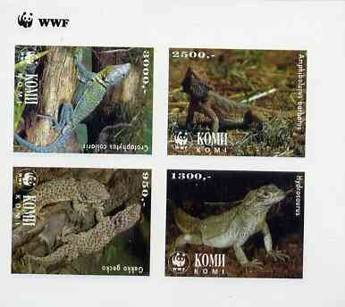 Komi Republic 1997 WWF - Reptiles imperf sheetlet containing complete set of 4 unmounted mint
