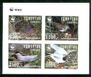 Udmurtia Republic 1997 WWF - Birds imperf sheetlet containing complete set of 4 unmounted mint