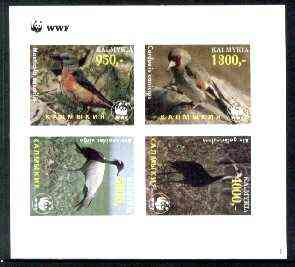 Kalmikia Republic 1997 WWF - Birds imperf sheetlet containing complete set of 4 unmounted mint