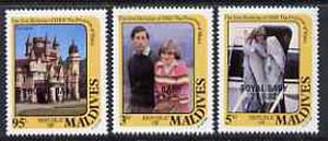 Maldive Islands 1982 Birth of Prince William opt on 21st Birthday set of 3, SG 978-90 (gutter pairs available pro rata)