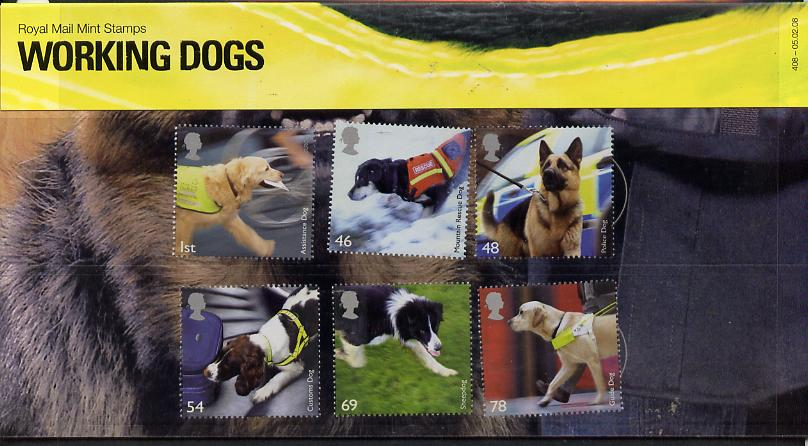 Great Britain 2008 Working Dogs perf set of 6 in official presentation pack SG 2806-11