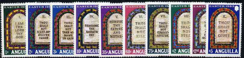 Anguilla 1983 Easter - The Ten Commandments set of 10, SG 549-58 unmounted mint