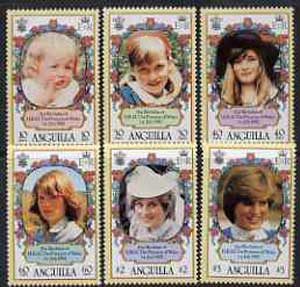 Anguilla 1982 Princess Di's 21st Birthday set of 6 unmounted mint, SG 507-12