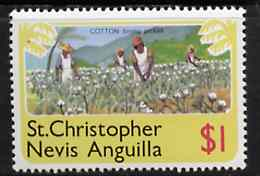 St Kitts-Nevis 1978 Picking Cotton $1 from Pictorial def set, SG 404 unmounted mint