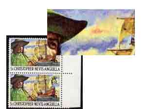 St Kitts-Nevis 1970-74 L'Ollonois & Pirate Carrack 6c unmounted mint with 'Red Mark on Cloud' variety in pair with normal, SG 212var