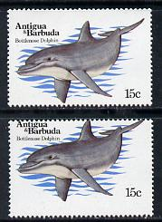 Antigua 1983 Whales15c (Dolphin) 3mm shift of horiz perfs plus normal unmounted mint, SG 788