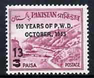 Pakistan 1963 Public Works Department opt 13p on 3p Khyber Pass unmounted mint, SG 192*