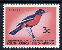 South Africa 1969 Gonolek Bird 3c (Redrawn with phosphor bands) unmounted mint, SG 287*