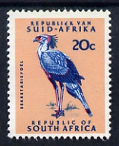South Africa 1969 Secretary Bird 20c (Redrawn with phosphor bands) unmounted mint, SG 296*, stamps on birds