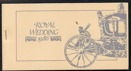 Booklet - Tuvalu - Nukufetau 1986 Royal Wedding (Andrew & Fergie) $6.40 booklet, State Coach in silver, panes imperf