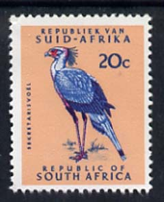 South Africa 1964 Secretary Bird 20c (Redrawn & wmk'd) unmounted mint, SG 249*