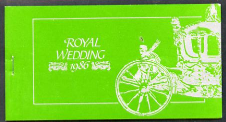 Booklet - Tuvalu - Nui 1986 Royal Wedding (Andrew & Fergie) $6.40 booklet, State Coach in silver, panes imperf