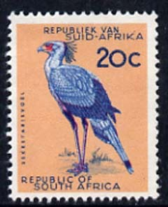 South Africa 1961 Secretary Bird 20c (no wmk) unmounted mint, SG 218