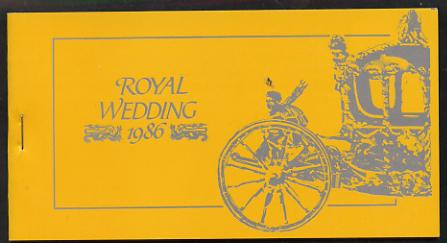 Booklet - Tuvalu - Funafuti 1986 Royal Wedding (Andrew & Fergie) $6.40 booklet, State Coach in silver, panes imperf
