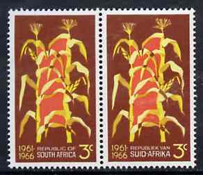 South Africa 1966 Maize Plants 3c se-tenant pair (from 5th Anniversary set) unmounted mint, SG 264