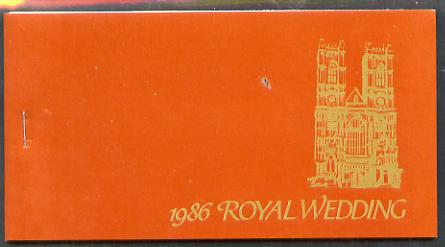 Booklet - St Vincent - Bequia 1986 Royal Wedding $7.20 booklet, Westminster Abbey in gold, panes perforated