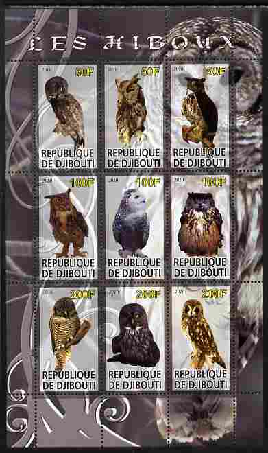 Djibouti 2010 Owls perf sheetlet containing 9 values unmounted mint
