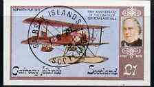 Gairsay 1979 Rowland Hill (Sopwith Pup) imperf souvenir sheet (£1 value) cto used