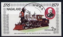 Nagaland 1979 Rowland Hill (Chicago Rock Island & Pacific Loco) imperf souvenir sheet (2ch value) cto used