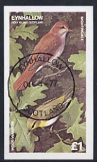Eynhallow 1977 Wood Warbler imperf souvenir sheet (�1 value) cto used