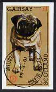 Gairsay 1984 Rotary -Dogs (Pug) imperf souvenir sheet (�1 value) cto used