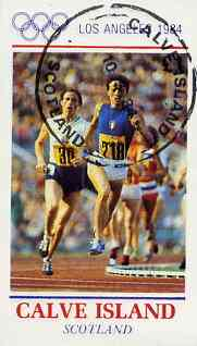 Calve Island 1984 Los Angeles Olympic Games (Running) imperf souvenir sheet (�1 value) cto used