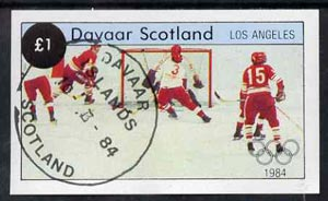Davaar Island 1984 Los Angeles Olympic Games (Ice Hockey) imperf souvenir sheet (£1 value) cto used