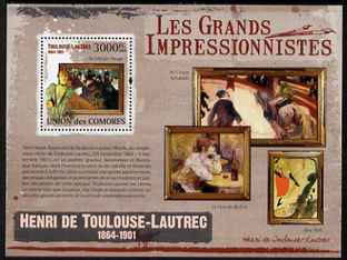 Comoro Islands 2009 Impressionists - Toulouse Lautrec perf s/sheet unmounted mint