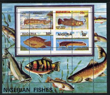 Nigeria 1991 Fishes m/sheet with spectacular misplaced perfs error (vert & horiz perfs misplaced through centre of stamps) unmounted mint