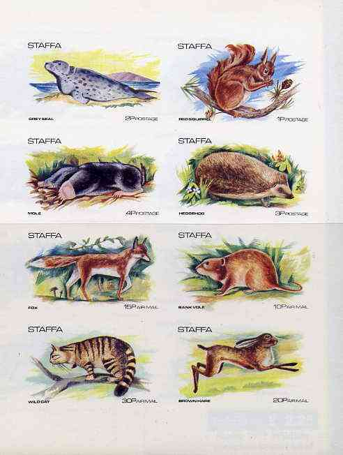 Staffa 1973 Wildlife complete imperf set of 8 values unmounted mint