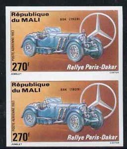 Mali 1983 Paris-Dakar Rally 270f (1929 Mercedes SSK) imperf pair from limited printing, unmounted mint as SG 978*