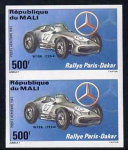 Mali 1983 Paris-Dakar Rally 500f (1954 Mercedes W196) imperf pair from limited printing, unmounted mint as SG 979*