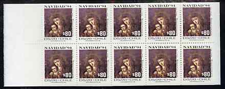 Booklet - Chile 1994 800p Christmas booklet containing pane of 10 x 80p Madonna & Child Discount stamps (SG 1596)