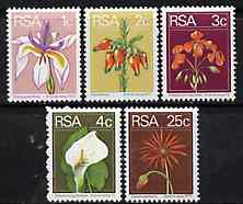 South Africa 1974-76 Flowers, set of 5 values from Flora & Fauna def set unmounted mint, SG 348-51 & 360