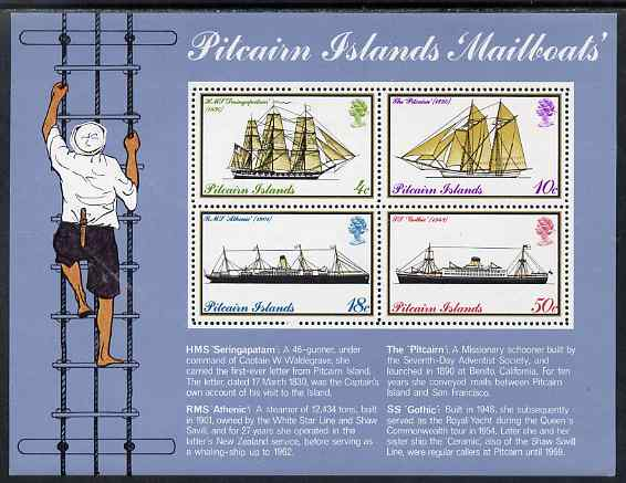 Pitcairn Islands 1975 Mailboats perf m/sheet unmounted mint SG MS 161