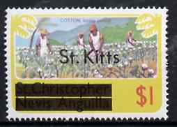 St Kitts 1980 Cotton Picking $1 from opt