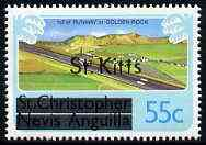 St Kitts 1980 New Runway for Golden Rock Airport 55c from opt'd def set unmounted mint, SG 38A*