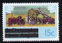 St Kitts 1980 Sugar Cane Harvesting 15c from opt'd def set, SG 32A unmounted mint*