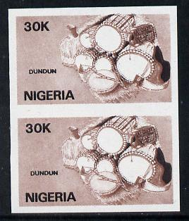 Nigeria 1989 Musical Instruments (dundun) 30k in unmounted mint  IMPERF pair (unlisted by SG and very scarce thus)