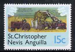 St Kitts-Nevis 1978 Sugar Cane Harvesting 15c from Pictorial def set, SG 397 unmounted mint
