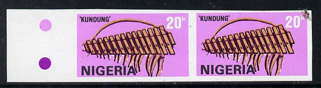 Nigeria 1989 Musical Instruments (Kundung) 20k in unmounted mint IMPERF pair (unlisted by SG and very scarce thus)