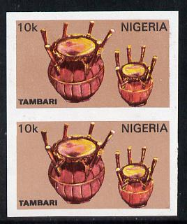 Nigeria 1989 Musical Instruments (Tambari) 10k in unmounted mint  IMPERF pair (unlisted by SG and very scarce thus)