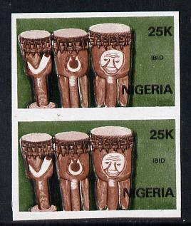 Nigeria 1989 Musical Instruments (Ibid) 25k in unmounted mint  IMPERF pair (unlisted by SG and very scarce thus)