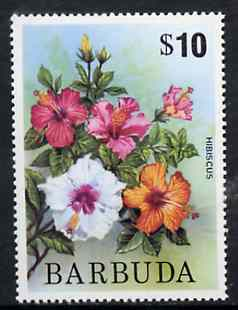 Barbuda 1974 HIbiscus $10 from pictorial def set, SG 197b unmounted mint*