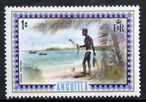 Anguilla 1972-75 Spear Fishing 1c from def set, SG 130 unmounted mint